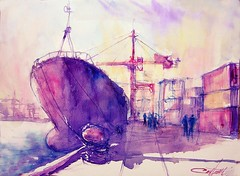 Cargo porte-containers / Containers-carrier ship (chrisaqua47) Tags: port docks watercolor painting pier boat ship crane aquarelle cargo peinture watercolour acuarela bateau quai grue dockers aquarello akvarel