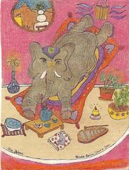 Elephant & Mouse Tea Party ~ Teapot no. 96 (496) (Neshamah Spirit Art) Tags: elephant mouse tea teapot teapots teaparty coloredpencil set5 100teapots nicoleraisinstern