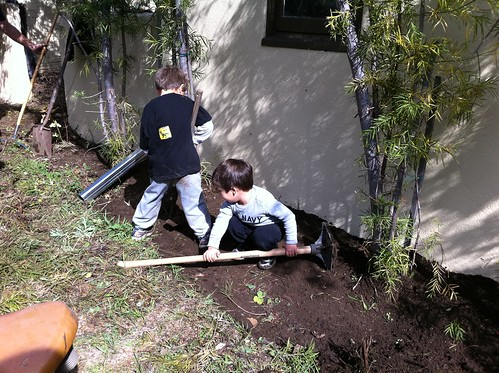 Building up the soil around the garage