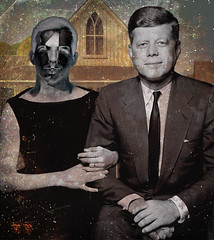 Lee Harvey Oswald Wedding Portrait (captainpandapants) Tags: portrait love john death dallas gun texas president rifle marriage wed jfk murder kennedy oswald johnfkennedy assassin assassination americangothic dealeyplaza wedded leeharveyoswald texasschoolbookdepository november221963 grantwoods carcanorifle