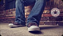 055/365 Just Kicking It (matthewcoughlin) Tags: brick feet concrete shoe sigma sidewalk jeans converse allstar chucktaylor speedlite strobist 430exii canon7d 3652011 2011inphotos