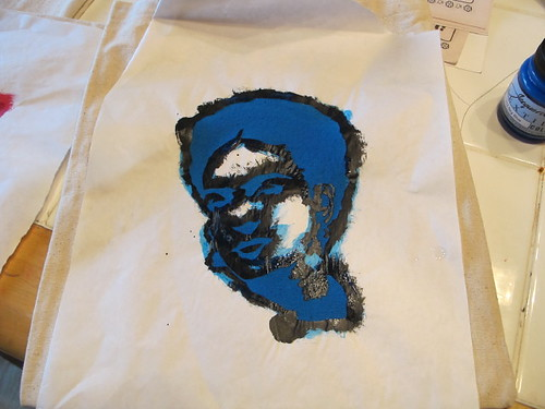 Kinda creepy Frida stencil in progress