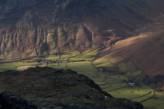 Wasdale Head (Nick Landells) Tags: light shadow mountain mountains field farmhouse landscape dale farm hill lakedistrict vale hills autumncolours valley shade fells fields farms patchwork lakeland fell drystonewalls wasdale wasdalehead farmhouses lingmell yewbarrow kirkfell mosedale mountainsides wasdaleheadinn visipix fellsides