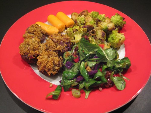 Vegan meal with Curry Couscous Stuffed Mushrooms and Roasted Romanesco Cauliflower & Brussels Sprouts