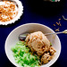 Coconut ice-cream with pandan sticky rice (kem xôi)