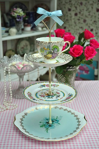 Pale Blue and Gold Vintage Tiered Cake Stand