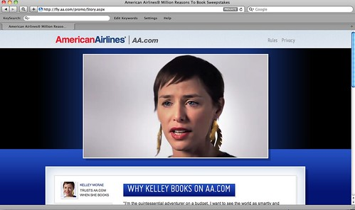Screen shot of American Airlines promotion site.