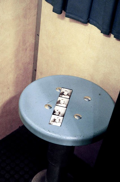 photo booth portrait on stool