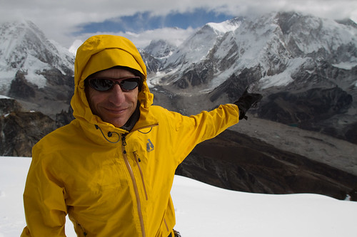 Charley points out Everest from Lobuche Summit