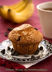 Chocolate Chip Muffin (Bitter-Sweet-) Tags: food breakfast tea sweet chocolate chips sugar bananas muffin baked