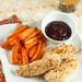 "Spicy ""Fried"" Chicken Tenders with Glazed Sweet Potato Sticks"