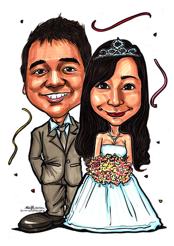 Amirah wedding caricatures 15022011