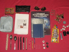 MARCH 2011 (Colonel Glenn) Tags: dice sunglasses pencil keys mms spoon books pens bagcontents chapstick