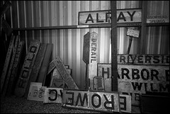 More Station Sign Storage (greenthumb_38) Tags: california railroad blackandwhite bw sign museum train blackwhite duotone 1022mm perris canonefs1022mmf3545usm stationsign oerm orangeempirerailwaymuseum canon40d jeffreybass