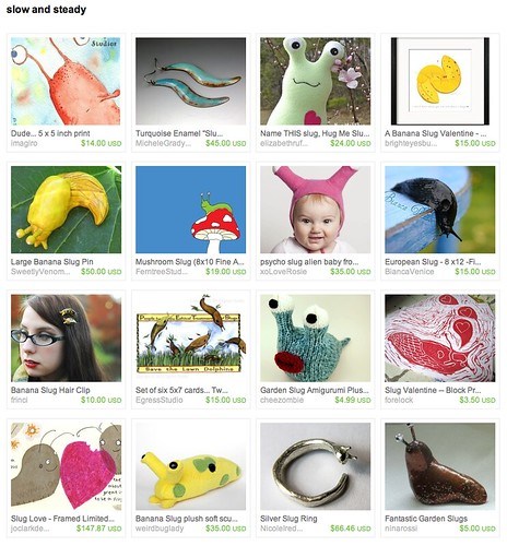 Light mint green Hug Me Slug by Elizabeth Ruffing in an Etsy slug treasury