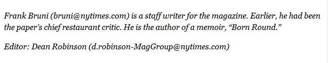 Ficha de autores no final do texto na revista do NYT