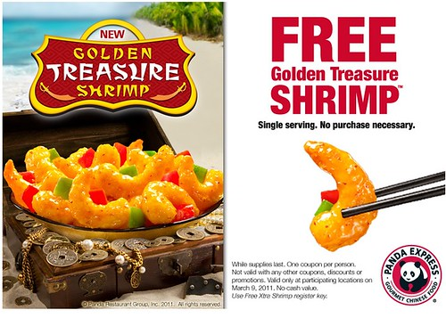 Panda Express free golden treasure shrimp coupon