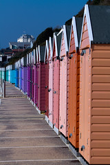 Summer Huts (Alf's Work) Tags: wood sea england sky holiday colour english beach seaside paint huts bournemouth coastuk