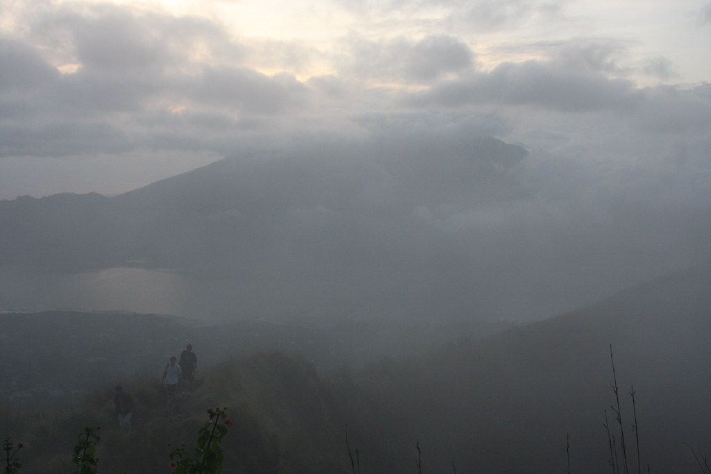 View to the lake as dawn breaks, Gunung Batur, Bali