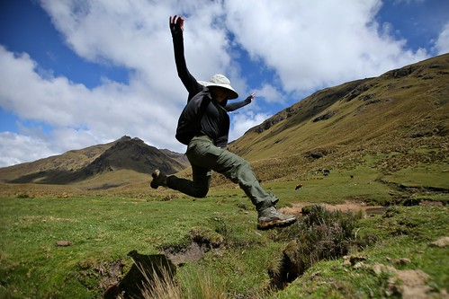 Leaping over a stream.
