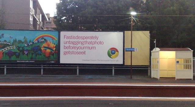 Google Chrome advertising at South Yarra Station, Melbourne
