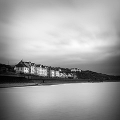 Coastal Town (Andy Brown (mrbuk1)) Tags: ocean longexposure houses light sky seascape water wall buildings square mono blackwhite cloudy stormy devon dawlish