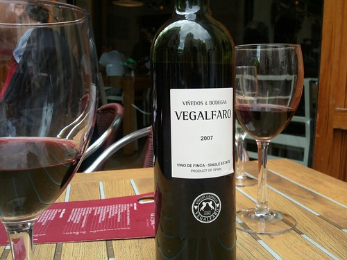 Wine break. Enjoying a local Valencia blended rioja
