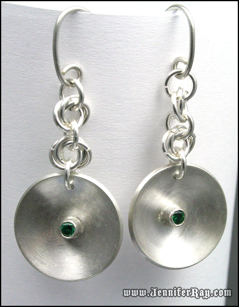 Silver disk Chainmaille earrings with 3mm CZ