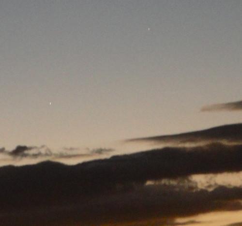 Puntarenas-Júpiter y Mercurio vistos anoche al atardecer desde Puntarenas