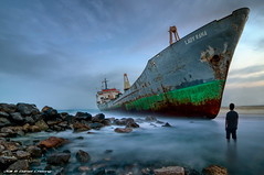 Stranded (DanielKHC) Tags: sea portrait seascape lady digital self lost person boat high nikon rocks long exposure dubai solitude ship dynamic decay uae dream rusty dramatic surreal vessel cargo human fantasy ethereal wreck rana ghostly mapping range stranded epic tone sharjah hdr abandonned blending d300 nd400 photomatix danielcheong danielkhc tokina1116mmf28