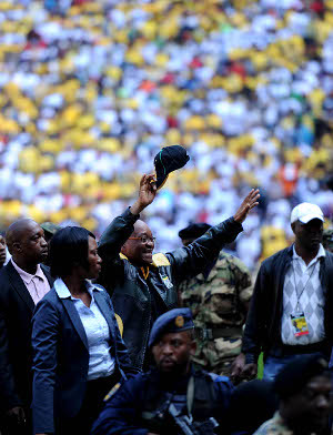 President Jacob Zuma arrives at the FNB Stadium in Johannesburg on Sunday, 15 May 2011 at the party's final rally before the municipal elections. Picture: Werner Beukes/SAPA by Pan-African News Wire File Photos