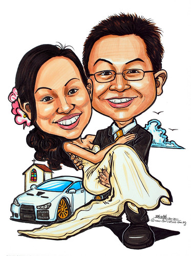 wedding couple caricatures with Mitsubishi Evo at church