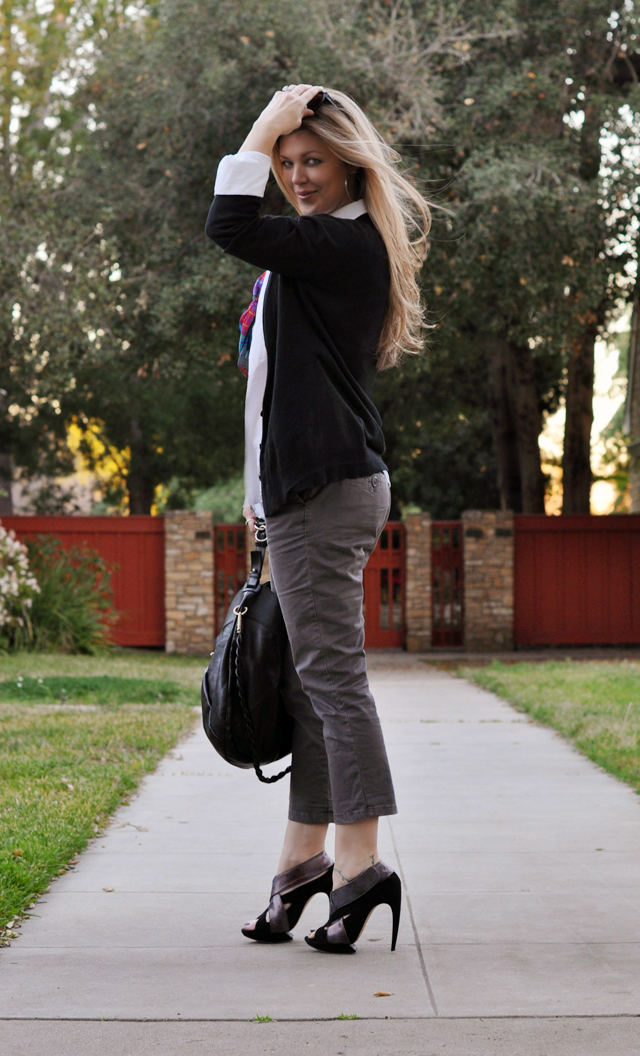 cropped pants with a white button down and black cardigan, nicholas kirkwood shoes, vintage scarf, ferragamo bag, long blonde hair, strawberry blonde hair, tom ford sunglasses, los angeles blogs, DSC_0046