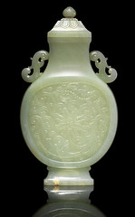Qianlong period (1736–95), Pale Celadon Jade Rococo-Style Vase and Cover
