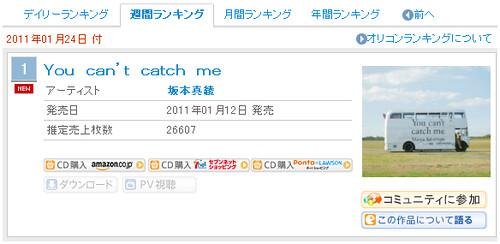 110118 - 聲優歌手「坂本真綾」的最新專輯《You can't catch me》成為出道15年來的第一張ORICON首週冠軍CD!