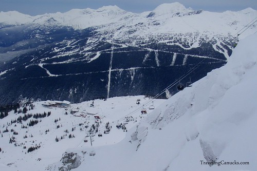 View of Mid-station Lodge and Whistler Peak Chairlift