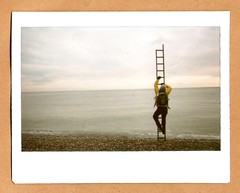 (Maddie Joyce) Tags: ocean sea england sky bus film yellow sussex maddie funny trevor magic horizon climbing gordon joyce instant fujifilm ladder hastings instax wwwthemagicbuscollectivecom