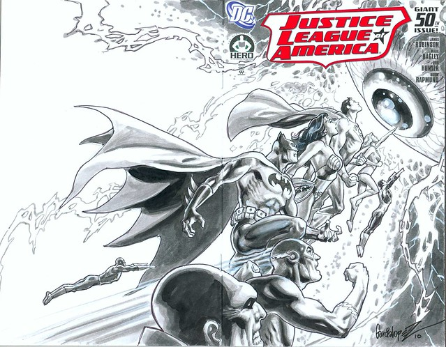 Justice League of America cover by José Luis García-López for Hero Initiative