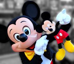 Plush Mickey meets his idol. [Explored #417] (Ring of Fire Hot Sauce 1) Tags: blackwhite disneyland disney mickeymouse waltdisney mainstusa