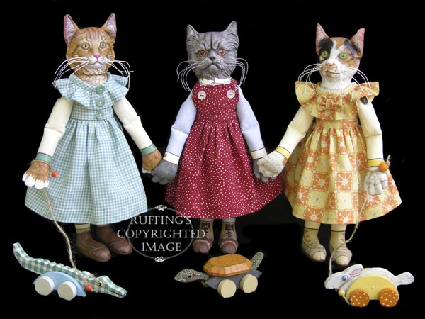 Three Little Kittens, Original, One-of-a-kind art dolls by Max Bailey, photo by Elizabeth Ruffing, Ginger Tabby Cat, Blue Persian Cat, and Calico Cat Original, One-of-a-kind Art Dolls