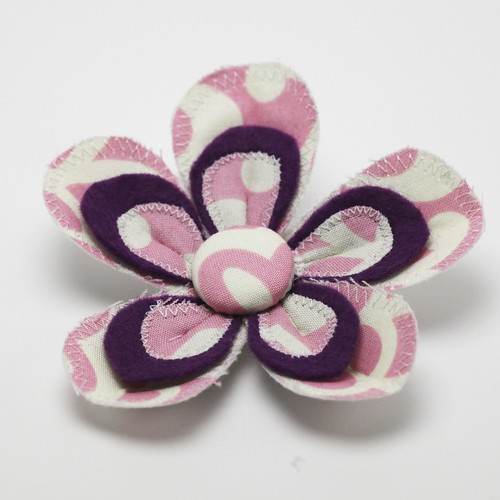 Fabric and felt flower brooch