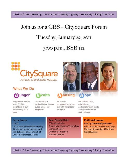 CitySquare Forum Flyer