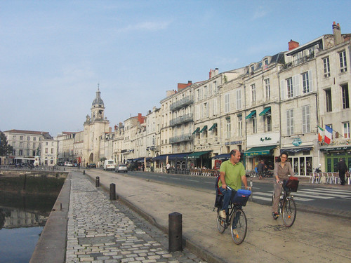 Cycling the waterfront of La Rochelle. Photo: Richard Peace