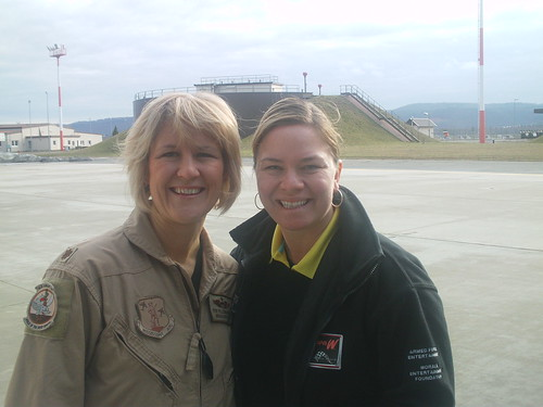 Sarah Fisher poses with a C17 Pilot