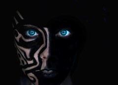 Sixty Two. (alibubba) Tags: black dark blueeyes 365 lowkey emulation faceart mfimc iwishicouldfavethismore