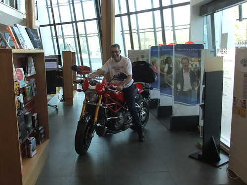 Alan rides the Duke in the Civic Library