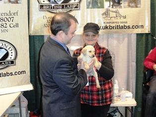 FSA Administrator Jonathan Coppess visits with a Labrador retriever breeder at Pheasant Fest. Labs are recognized as excellent upland game bird and waterfowl retrievers.