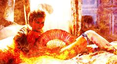 Marie-Antoinette-kirsten-dunst-flames (felice monda) Tags: red woman fire destruction flames impact vandalized disintegration