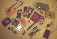 What's in my bag? (deerrachel) Tags: urban film oklahoma canon vintage gum bag notebook keys cards holga kodak whats wallet crochet yarn needle iphone chapstick outfitters