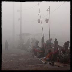 Being Unwanted (designldg) Tags: morning winter people india cold fog square dawn view atmosphere varanasi kashi leprosy timeless ghats benares benaras uttarpradesh भारत indiasong thebestofday gününeniyisi